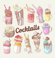 milkshakes and ice cream hand drawn doodle vector image vector image