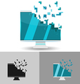 Monitor Digital Blue Pixel Logo vector image