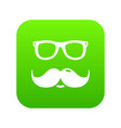 nerd glasses mustaches icon green vector image vector image