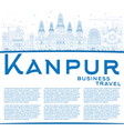 Outline Kanpur Skyline with Blue Buildings vector image vector image