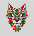 patterned head wild cat african style brown line vector image