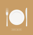 Plate dish with fork and knife Eat sign icon vector image vector image