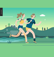 runners - man and woman exercising vector image vector image