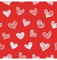 Seamless Pattern With Doodle Hand Drawn Hearts vector image