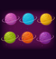 set of fantasy galaxy planets vector image