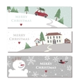 Set of three website horizontal winter banners vector image vector image