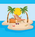 tanning chair with palms trees and briefcase with vector image vector image