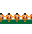 turkey seamless border cute thanksgiving vector image vector image