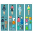 Vertical Banners Set Of Woman Clothes Flat Icons vector image