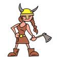 viking girl cartoon hand drawn image vector image