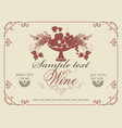 wine label with a bowl of fruit and lilac vector image vector image