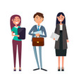 woman with sheet of paper boss briefcase vector image vector image