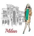 woman walking near Milan vector image