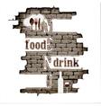 restaurant menu in the brick wall vector image