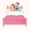 woman sick with couple in bed comforting sleeping vector image