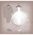 bride dress and groom suit on grungy background