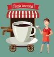 a cup coffee stylized street cafe on wheels vector image vector image