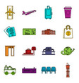 airport icons doodle set vector image