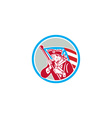 American Patriot Soldier Waving Flag Circle vector image vector image