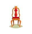 antique chair with red velvet trim and crown vector image vector image