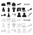 architecture and construction black icons in set vector image vector image