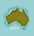 australia map in green surrounded by the ocean vector image