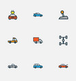 auto icons colored line set with wheelbase tesla vector image vector image