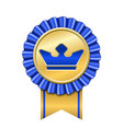 award ribbon gold icon golden blue medal crown vector image