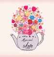Beautiful card with watercolor flowers Cup of tea vector image vector image