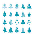 black silhouette christmas trees stylized vector image