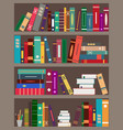 bookshelfes with books bookcase in library vector image