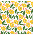 bright pattern with cute yellow sunflowers vector image vector image