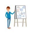 business presentation businessman presenting board vector image vector image