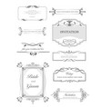 calligraphic elements and frame vintage set vector image