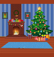 cartoon home indor interior of decorated room with vector image