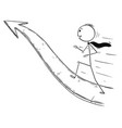 cartoon of businessman running on arrow for vector image