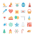 christmas and easter colored icons 2 vector image vector image