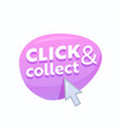 click and collect pink bubble with arrow pointer vector image