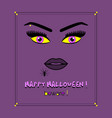 close up abstract woman face with yellow eyes vector image vector image