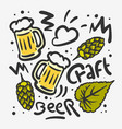 craft beer hand drawn design with mugs of vector image