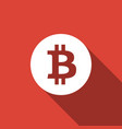 cryptocurrency coin bitcoin icon with long shadow vector image