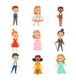 cute kids in elegant clothes set cute boys and vector image