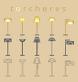 floor lamp line icon flat design torchere vector image