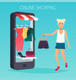girl make shopping online from phone sale flat vector image