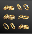 gold rings realistic set vector image