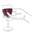 hand with glass of red wine vector image
