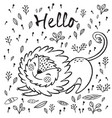 hello cute lion cartoon vector image vector image