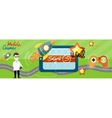 Horizontal banner with game icons vector image vector image