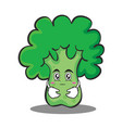 hugging broccoli chracter cartoon style vector image vector image