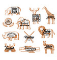hunter club hunting season animals lettering vector image vector image